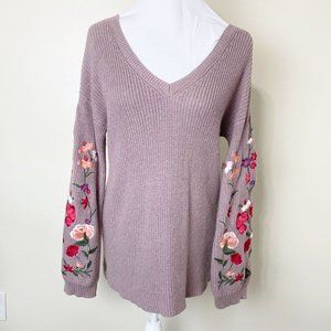 American Eagle Floral Embroidered Sleeve Sweater